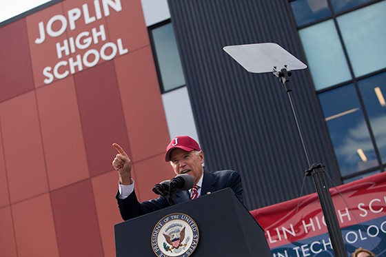 Vice President Joe Biden speaks at the Joplin High School dedication ceremony