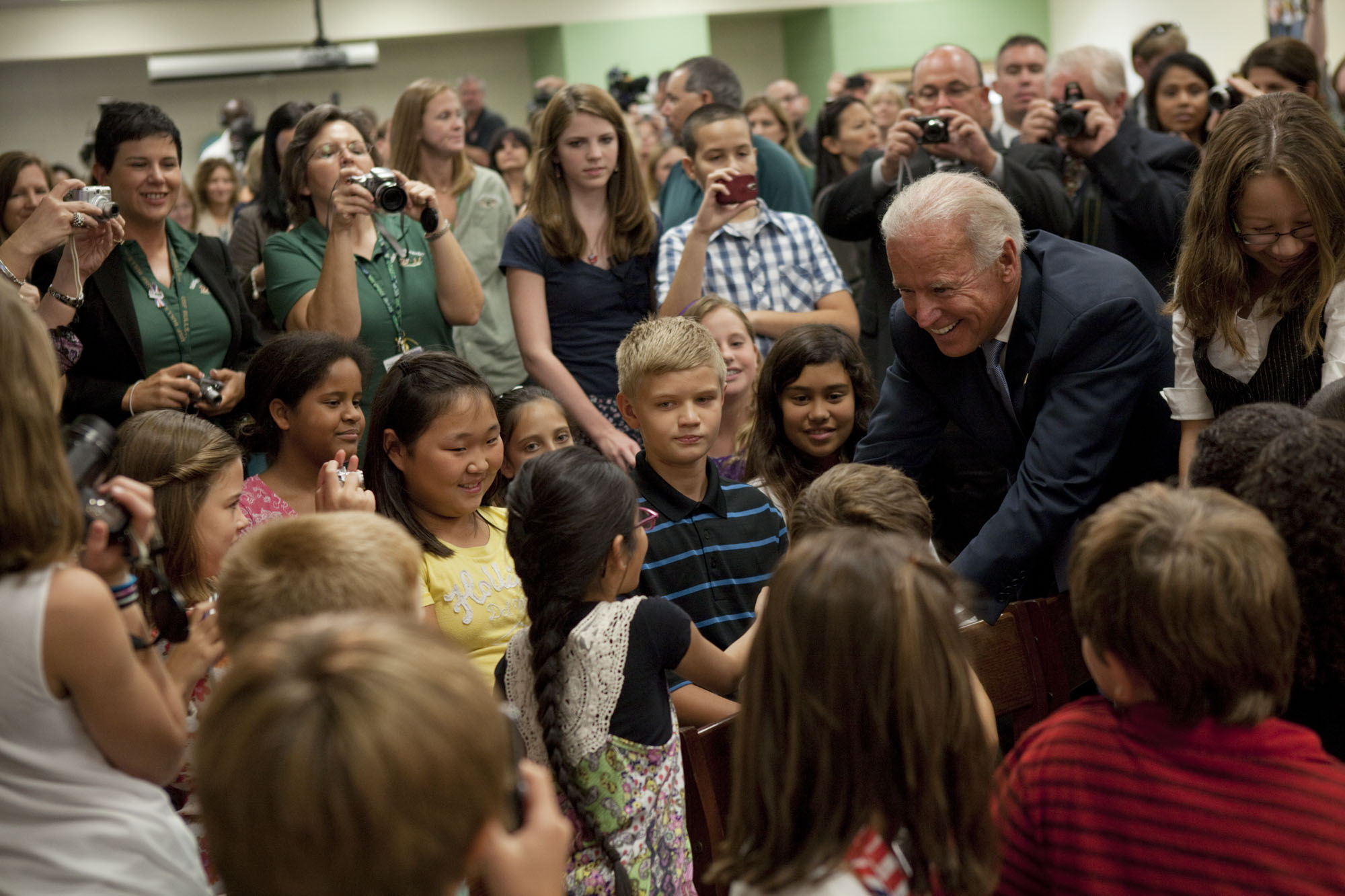 Vice President Joe Biden Shakes Hands with Students at Oakstead Elementary School in Land O' Lake, Florida