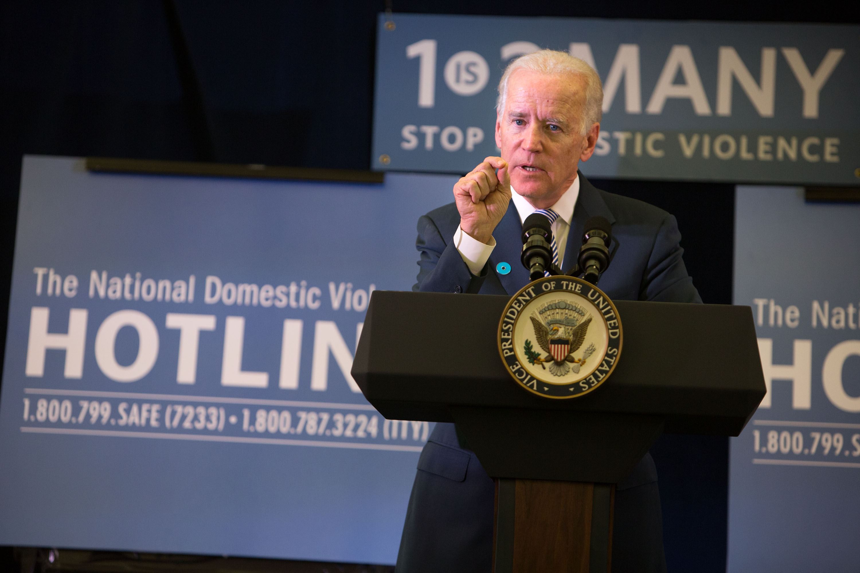 Vice President Joe Biden speaks at an event at the National Domestic Violence Hotline
