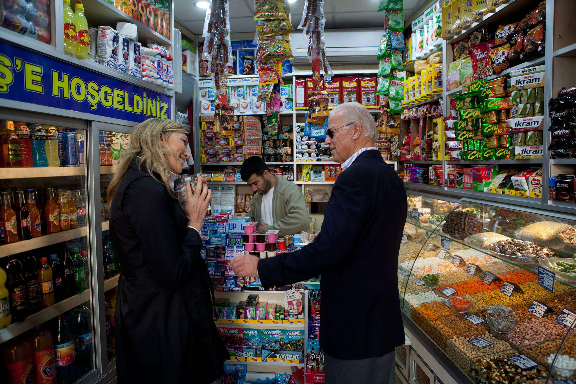 Vice President Joe Biden visits a shop in Istanbul