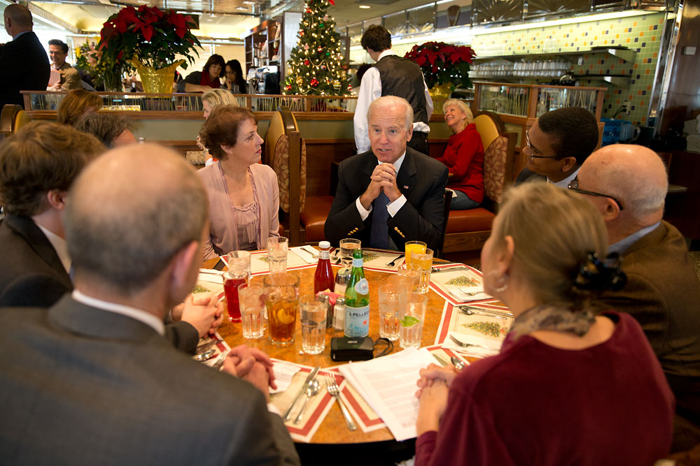 Vice President Joe Biden has lunch with Americans
