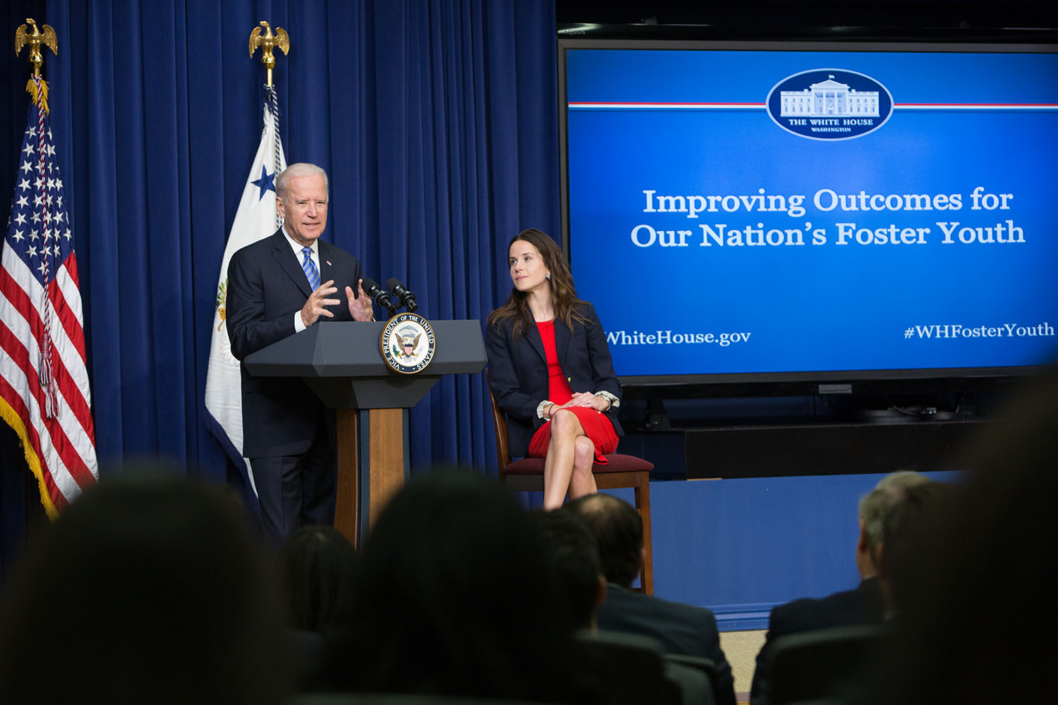 Vice President Biden delivers remarks with his daughter Ashley Biden during a White House Foster Care event