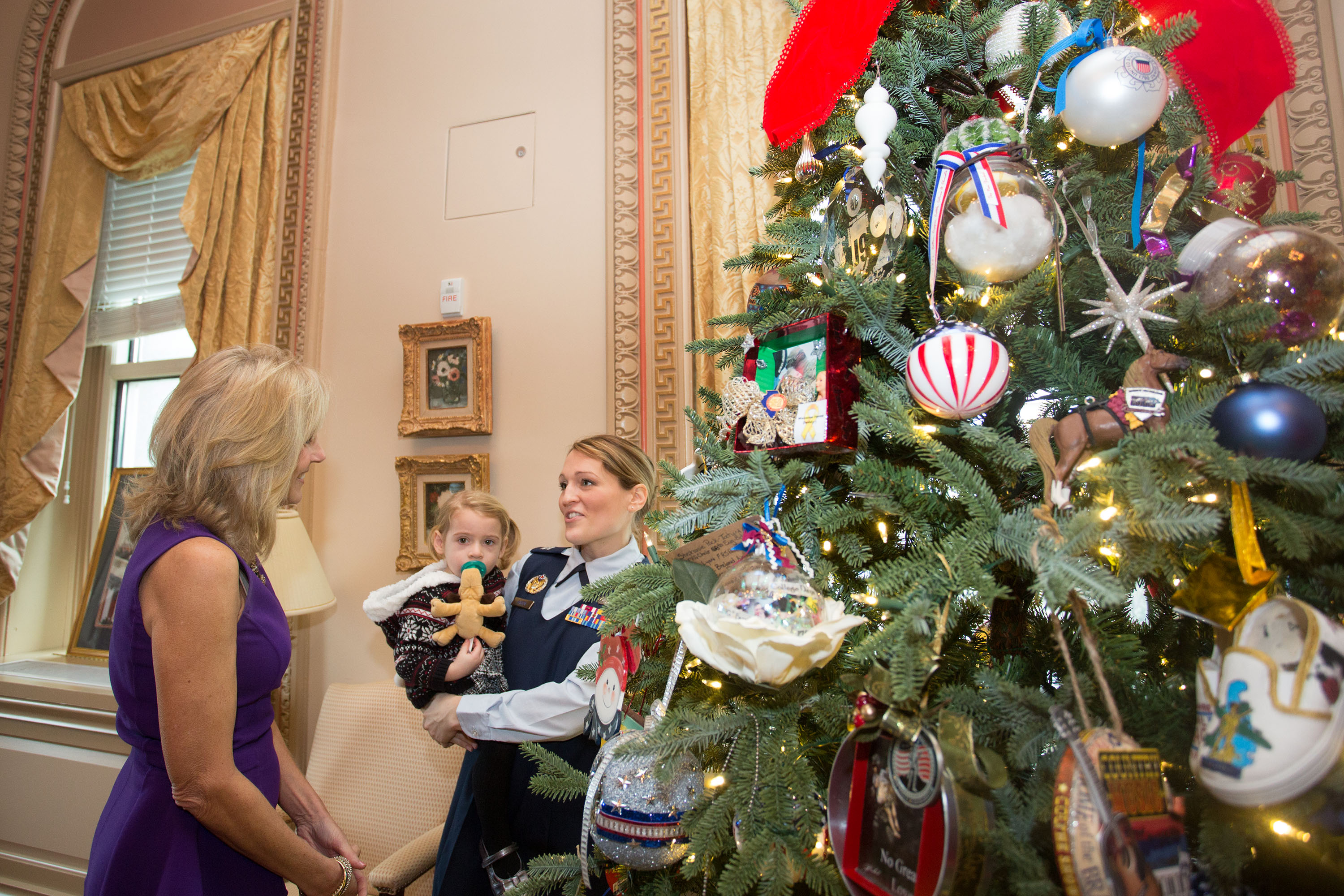 Dr. Jill Biden hosts a National Guard Christmas Tree dedication in her office in the Eisenhower Executive Office Building, in Washington, D.C., Dec. 9, 2013. (Official White House Photo by David Lienemann)