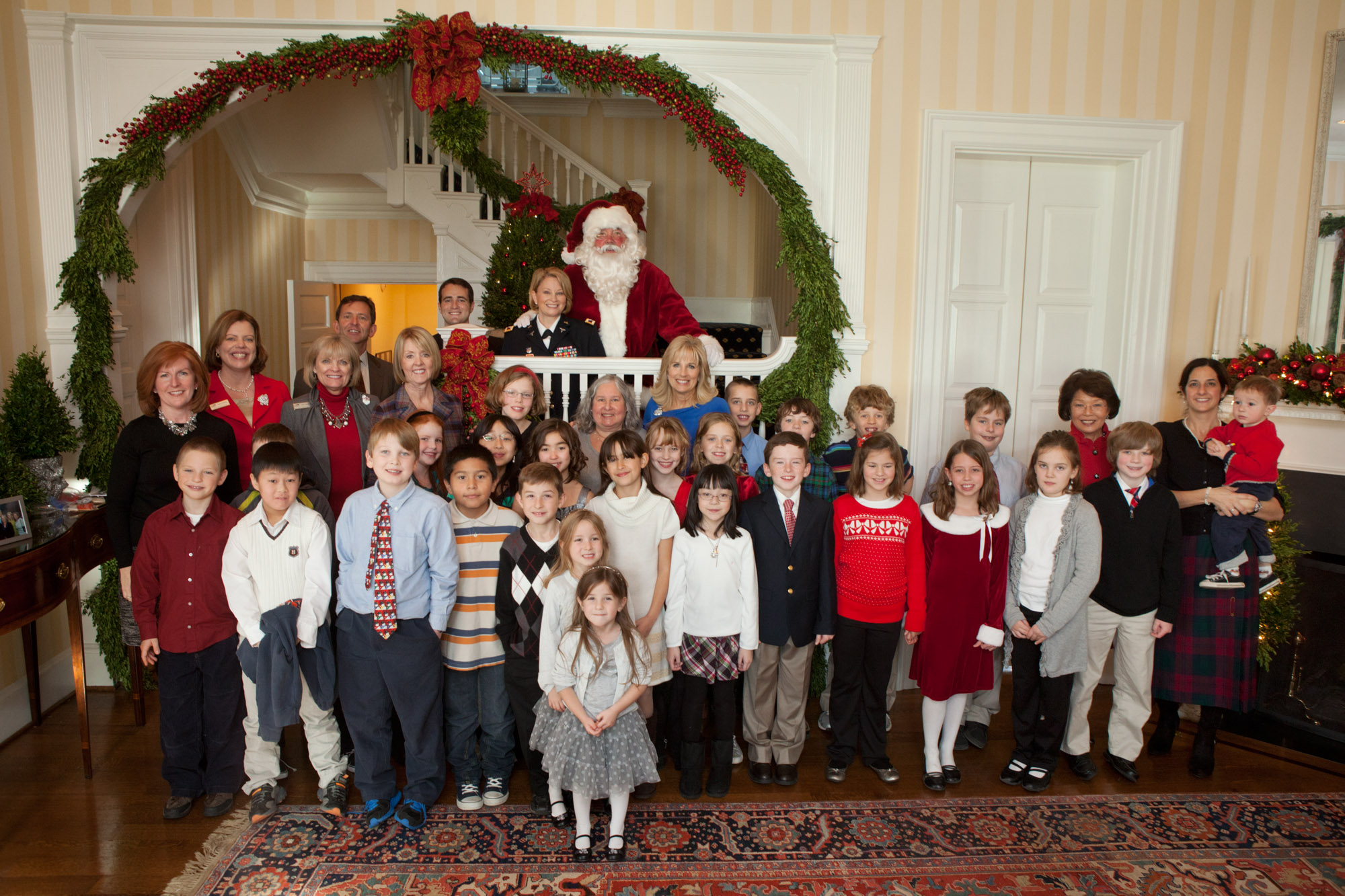 Group Photo at Dr Biden's Holiday Party for White Oaks Elementary School