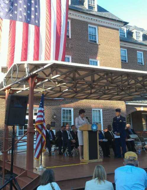Valerie Jarrett speaks to new citizens in Alexandra, VA