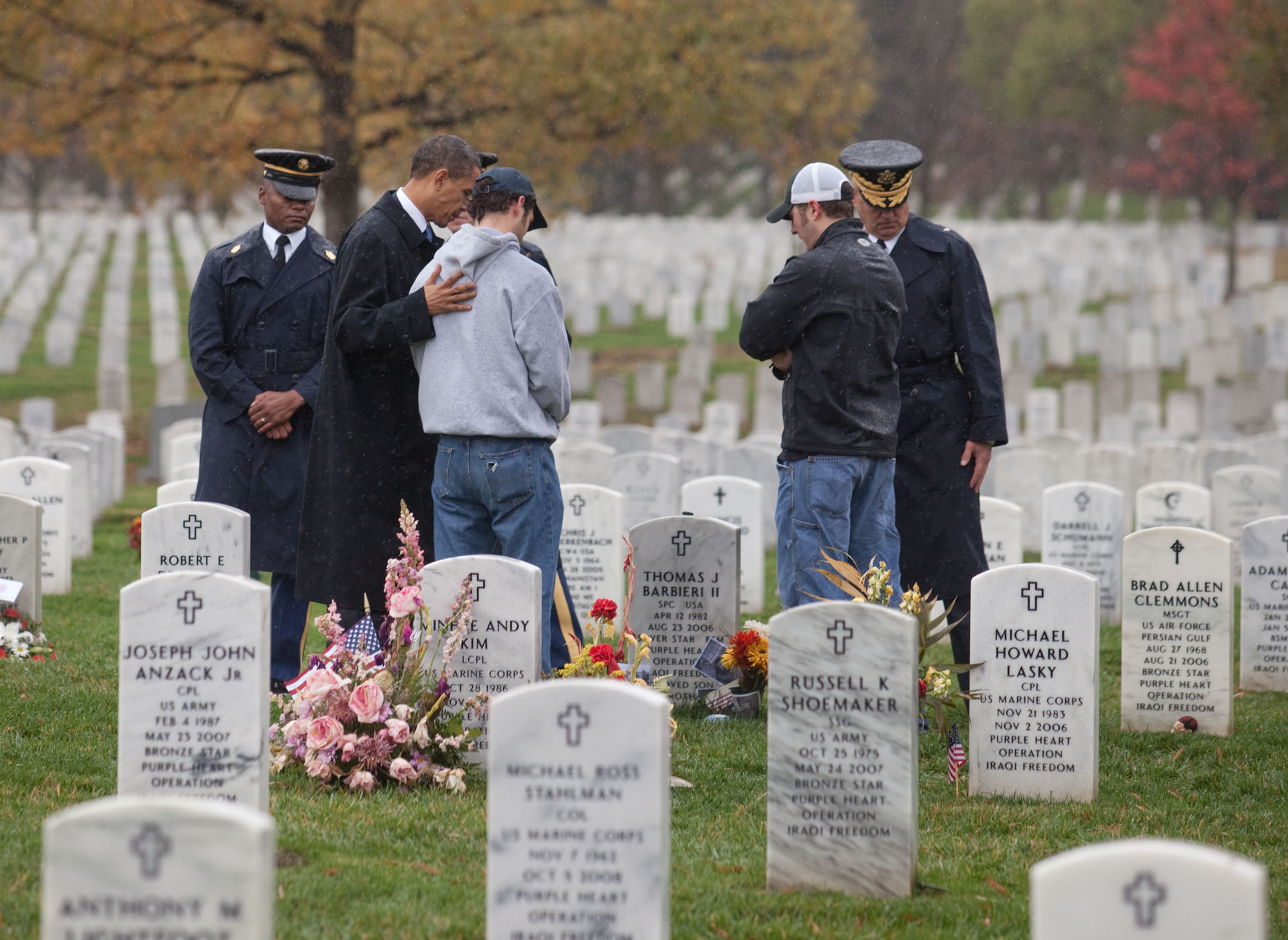 Veterans Day Consoling a Visitor in Arlington
