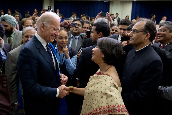 Vice President Joe Biden greets Indian Ambassador to the United States Ambassador Nirupama Rao