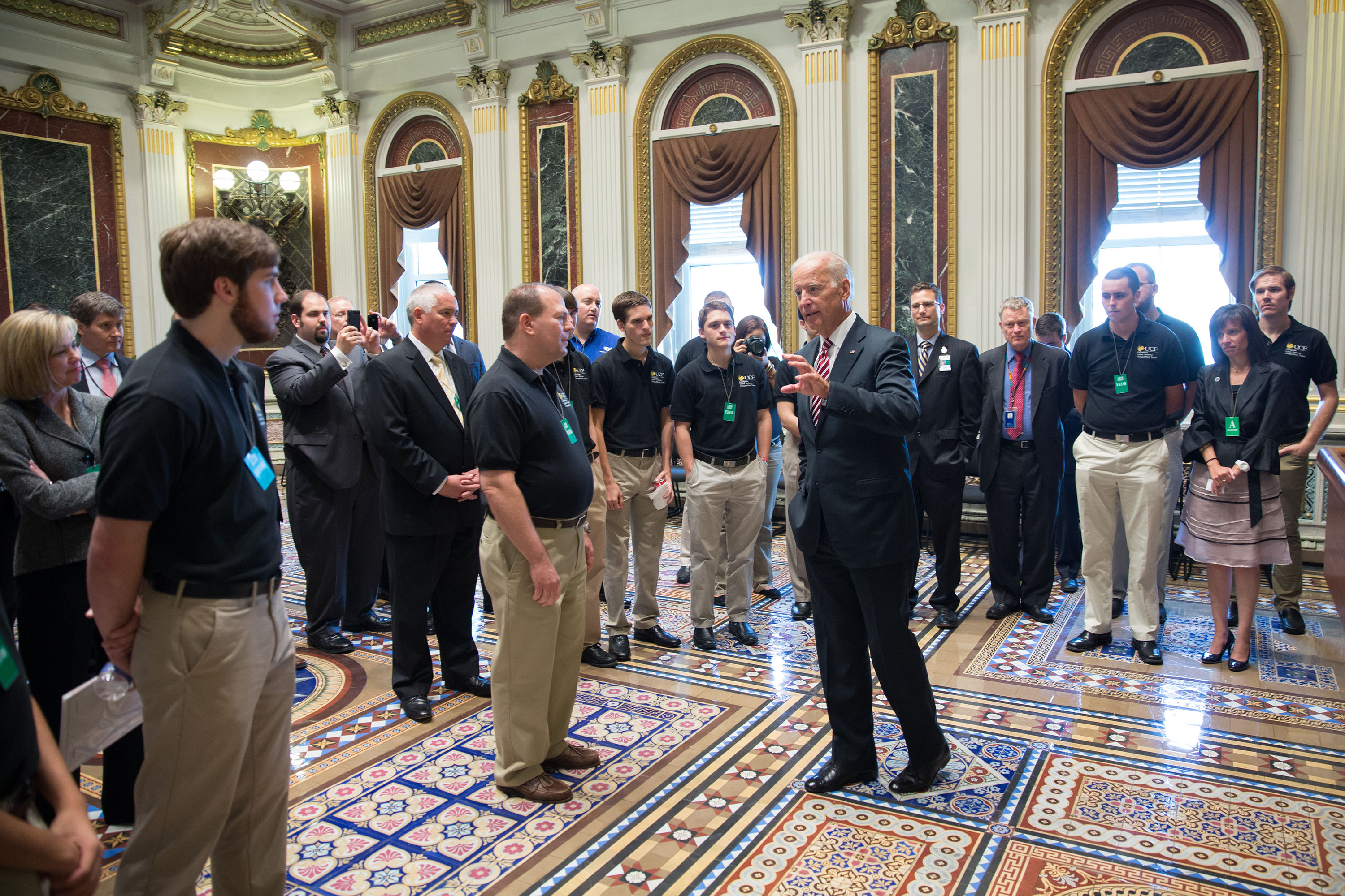 Vice President Joe Biden speaks to the 2014 National Collegiate Cyber Defense Competition Champions