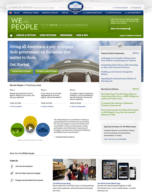 We the People Homepage October 2014