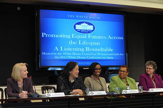 Nora Super, Tina Tchen, Nadina Gracia, Carolyn Colvin, and Kathy Greenlee speak at the White House