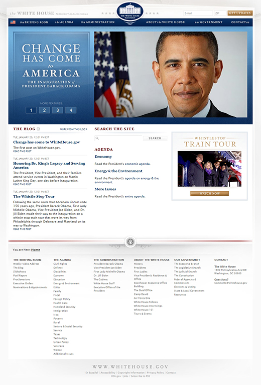 The 2009 White House Homepage