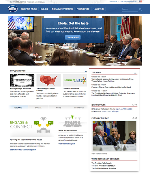 The White House Homepage October 2014