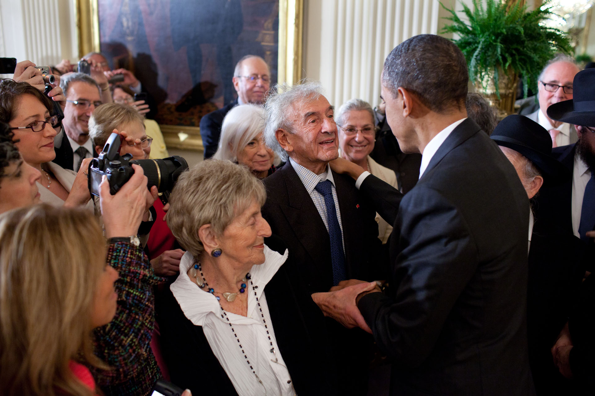 President Barack Obama Greets Elie Wiesel During a Reception in Honor of Jewish American History Month