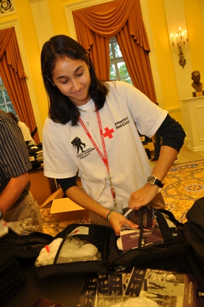 Gaby Skoviria helps assemble a Transitional Care Package