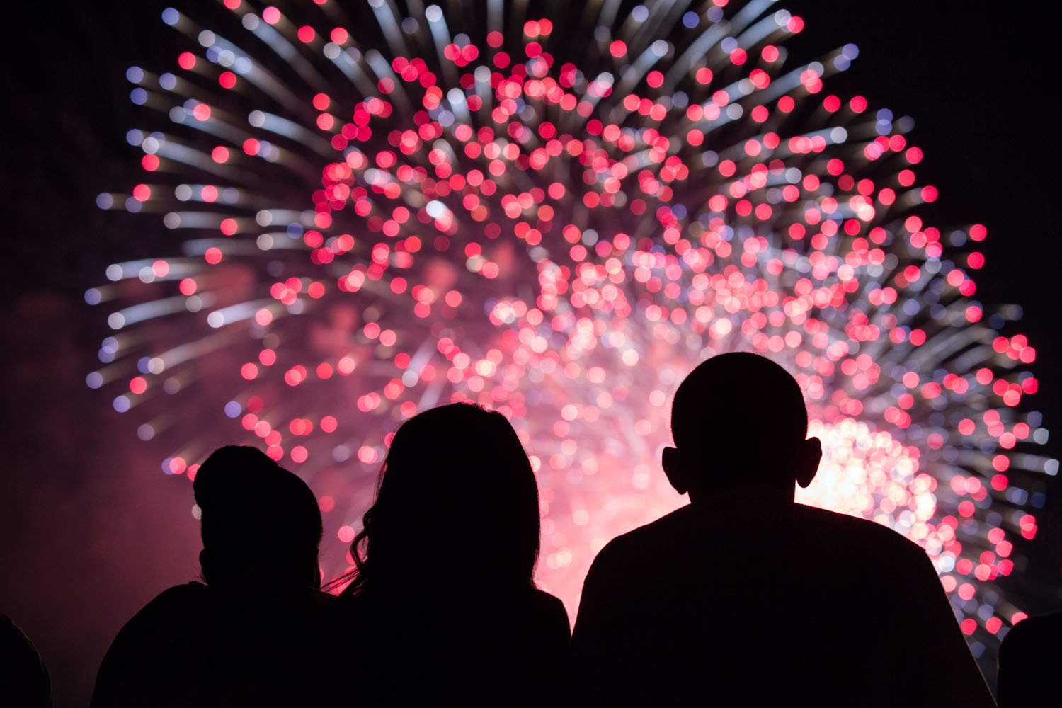 First Lady Michelle Obama, left, Malia Obama and President Barack Obama watch the Fourth of July fireworks from the roof of the White House.
