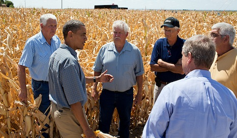 President Obama talks to farmers about the impacts of drought