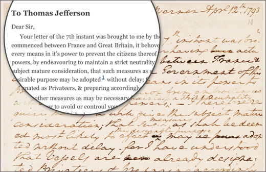 A letter from George Washington to Thomas Jefferson