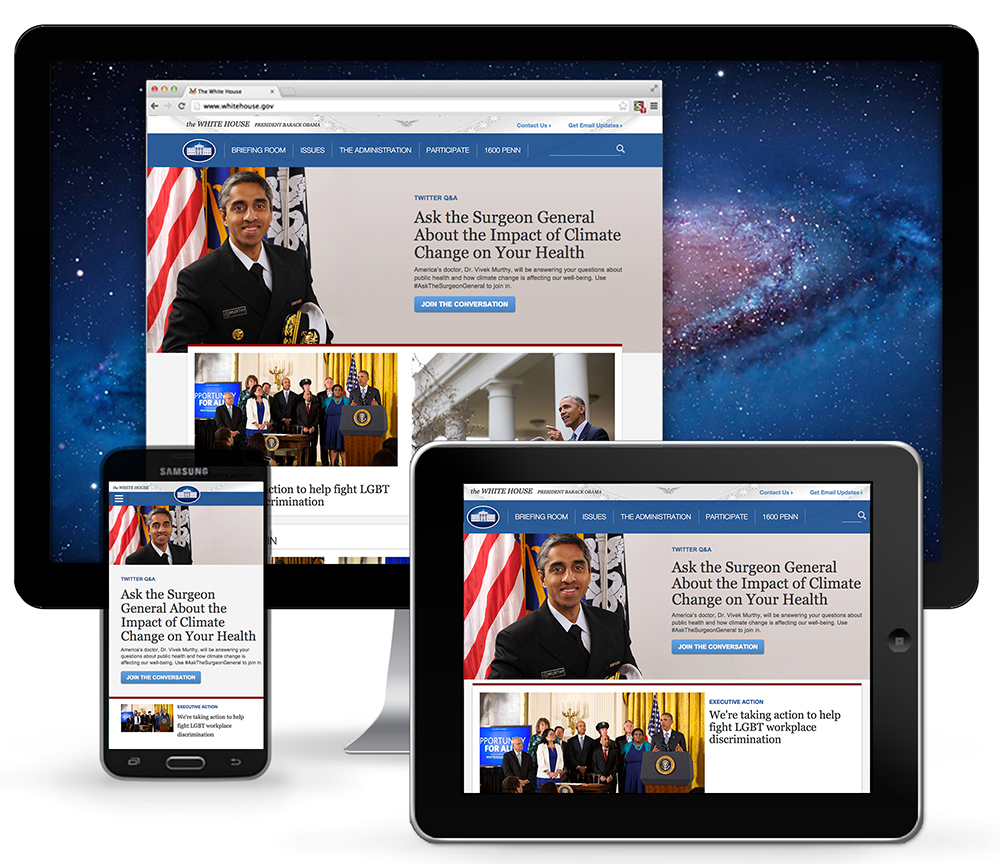 The White House landing page on desktop, tablet, and mobile devices as of April 9, 2015