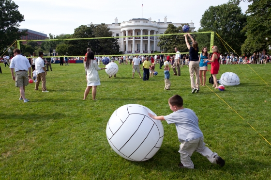 The South Lawn of the White House as military families enjoyed the holiday on July 4, 2009
