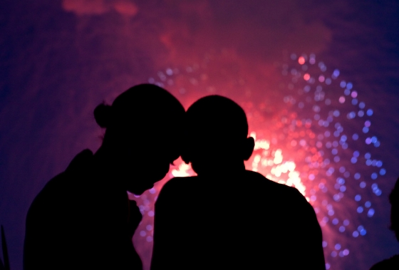 President Barack Obama and First Lady Michelle Obama watch fireworks