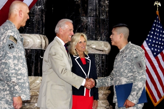 Vice President Joe Biden and Dr. Jill Biden congratulate soldiers on becoming U.S. citizens