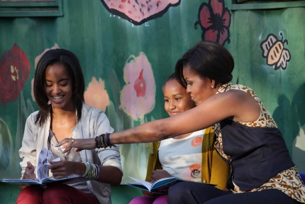 "First Lady, Sasha, Malia, read ""Cat in the Hat"" in township"
