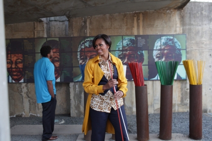 First Lady Michelle Obama Tours the Apartheid Museum