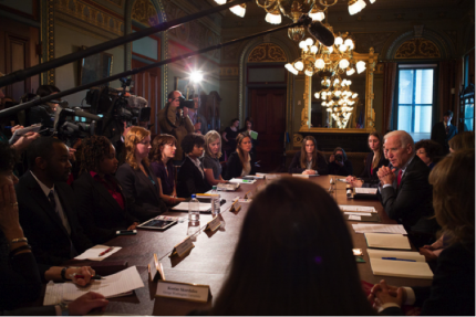 Vice President Joe Biden with students and advocates at a listening session for the White House Task Force to Protect Students from Sexual Assault