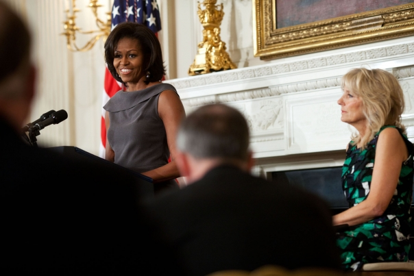 First Lady Michelle Obama and Dr. Jill Biden at the 2012 NGA meeting (February 27, 2012)