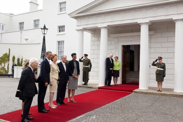 President Obama and First Lady Michelle Obama Arrive at President's Residence in Dublin