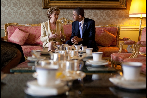 President Barack Obama Talks with Irish President Mary McAleese