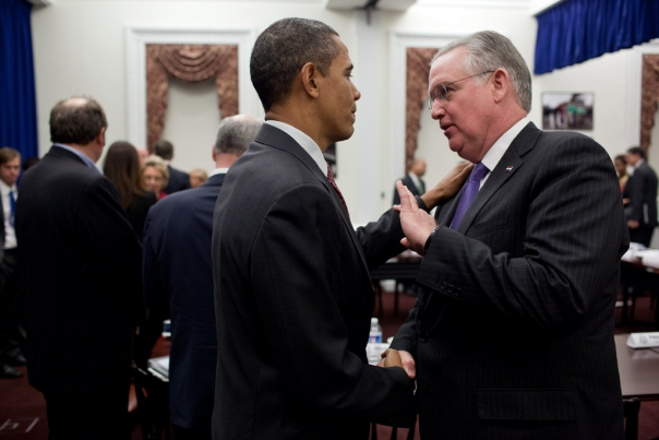 President Barack Obama talks with Missouri Governor Jay Nixon