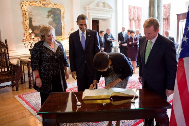 President Obama and First Lady Michelle Obama Sign the Guestbook