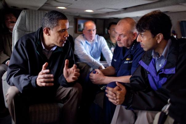 President speaks with Louisiana Gov. Bobby Jindal