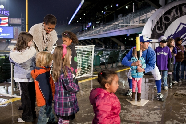 First Lady Michelle Obama Greets Kids at Colorado Rockies Coors Field in Denver
