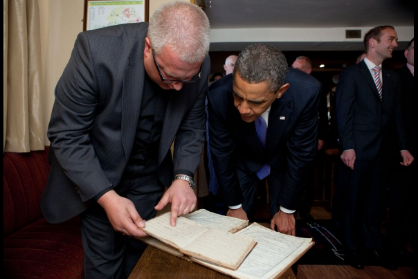 President Obama Looks Over Ancestral Documents