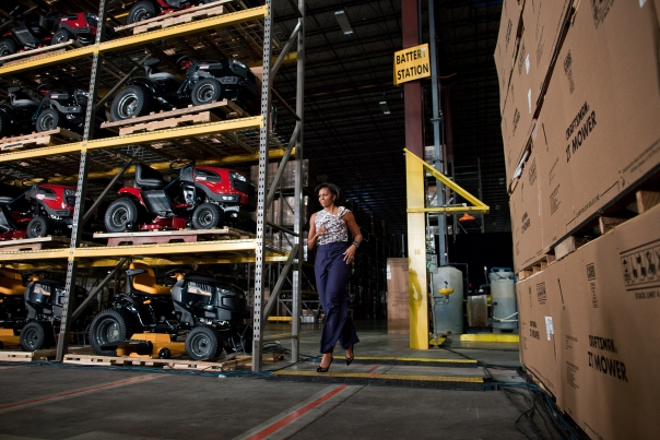 First Lady Michelle Obama is Introduced During a Visit to a Sears Distribution Center