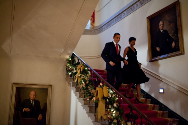Christmas First Family: Obama coming downstairs 2009