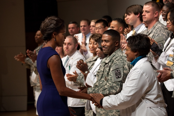 First Lady Shakes Hands With Medical Personnel
