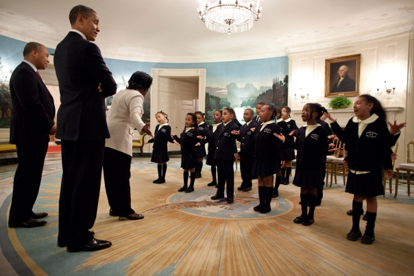 Orchard Gardens Students Meet President