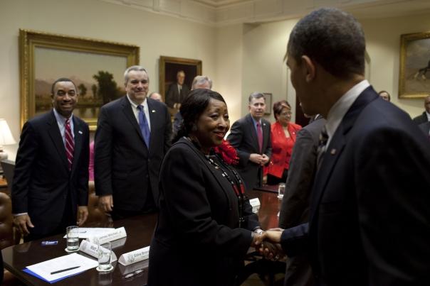 President Barack Obama greets Savannah Mayor Edna B. Jackson