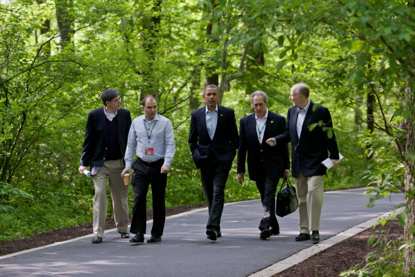 President Obama Walks With Staff