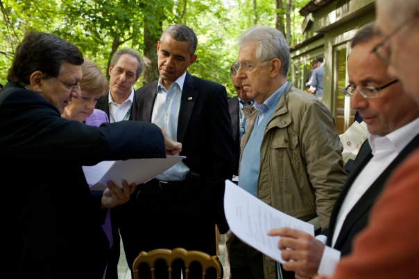 President Obama Talks With Leaders On The Laurel Cabin Patio