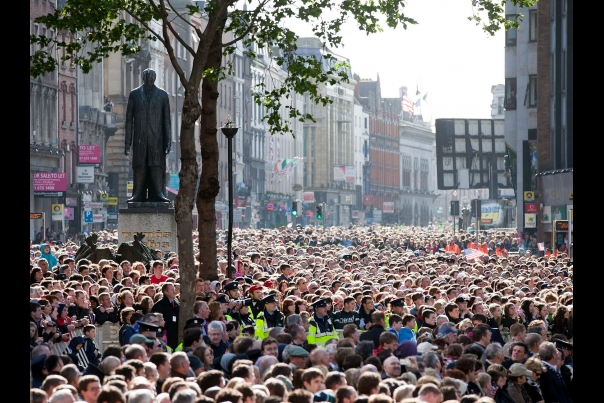 The Crowd Gathered at College Green in Dublin