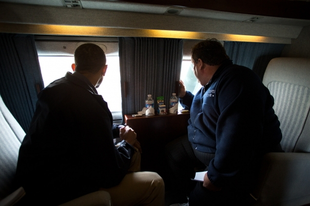 President Obama and Gov. Christie Look at Storm Damage