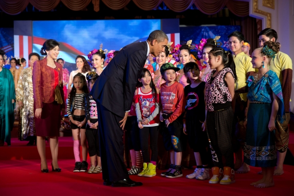 President Obama Greets Children In Bangkok
