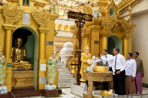 President Obama Pours Water Over Buddha