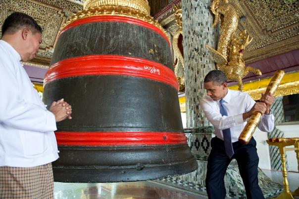 President Barack Obama Rings A Bell