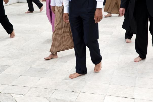 President Obama Walks Barefoot