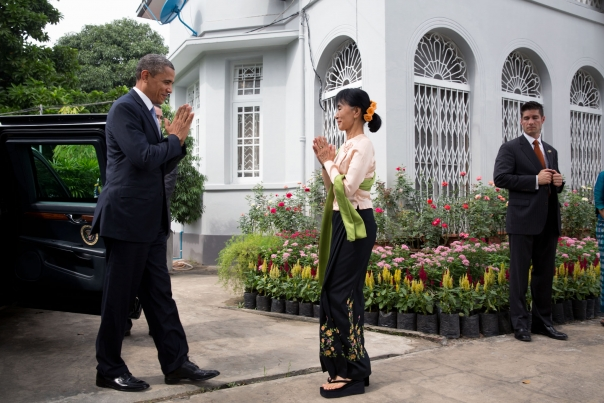 President Obama Greets Aung San Suu Kyi